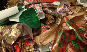 discarded christmas wrapping paper